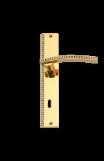 luxusní štítková klika MIMOZA GOLD s potahem 24 kt zlata, čiré krystaly
