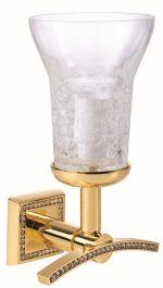 luxusní držák na ručník MIMOZA GOLD s potahem 24 kt zlata, čiré krystaly