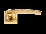 luxusní rozetová klika MIMOZA SILVER černé krystaly