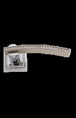 luxusní štítková klika MIMOZA GOLD s potahem 24 kt zlata, černé krystaly