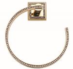 luxusní držák na ručník oblouk MIMOZA GOLD s potahem 24 kt zlata, čiré krystaly