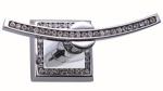 luxusní kartáč na toaletu MIMOZA SILVER, černé krystaly