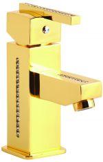 luxusní vanová baterie MIMOZA GOLD s potahem 24 kt zlata, čiré krystaly