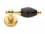 luxusní rozetová klika BEBEK GOLD s potahem 24 kt zlata, bílý krystal