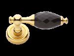 luxusní rozetová klika BEBEK GOLD s potahem 24 kt zlata, bílý krystal+krystaly v rozetě
