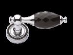 luxusní rozetová klika BEBEK GOLD s potahem 24 kt zlata, černý krystal+krystaly v rozetě