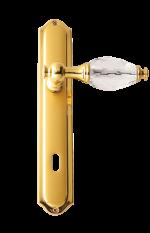 luxusní rozetová klika BEBEK GOLD s potahem 24 kt zlata, čirý krystal+krystaly v rozetě