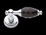 luxusní rozetová klika BEBEK SILVER, černý krystal+krystaly v rozetě
