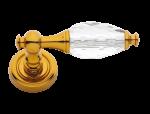 luxusní štítková klika BEBEK GOLD s potahem 24 kt zlata, čirý krystal