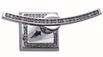 luxusní držák na kartáčky MIMOZA SIVER, čiré krystaly