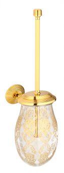 luxusní kartáč na toaletu BUBBLE GOLD WHITE s potahem 24 kt zlata