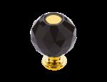 luxusní knopka 20mm BEBEK GOLD s potahem 24 kt zlata, černý krystal