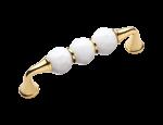 luxusní úchytka 64mm BEBEK GOLD s potahem 24 kt zlata, bílý krystal