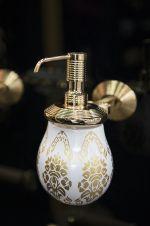 luxusní miska na mýdlo volná BUBBLE GOLD WHITE s potahem 24 kt zlata