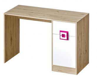 Pracovní stůl NIKO 10 dub jasný/bílá/růžová