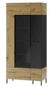 Vitrína LUCAS 12 2-dveřová, dub artisan/černá mat