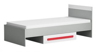Postel 90x200 cm GYT 12 antracit/bílá/červená