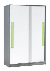 Šatní skříň s posuv. dveřmi GYT 13 antracit/bílá/zelená