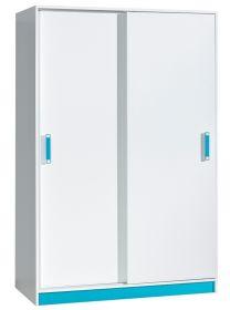 Šatní skříň s posuv. dveřmi TRAFICO 14 bílá/tyrkys