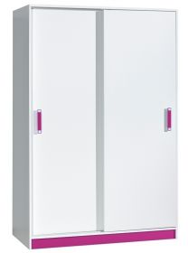 Šatní skříň s posuv. dveřmi TRAFICO 14 bílá/růžová