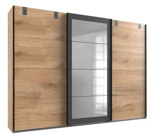Šatní skříň LOMAZA 796 dubové prkna/šedá grafit