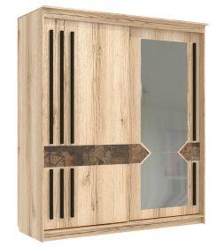 Skříň s posuv. dveřmi 200 cm ANIKA dub delano/grafika/grafit