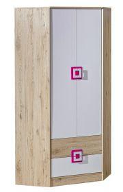 Rohová šatní skříň NIKO 2 dub jasný/bílá/růžová