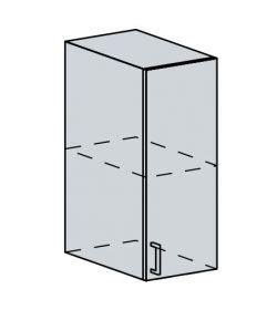 30H h. skříňka 1-dveřová TECHNO bk/oranžová metalic