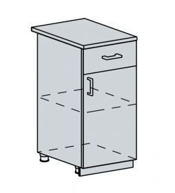 40D1S d. skříňka 1-dveřová se zásuvkou GREECE bk/granát metalic