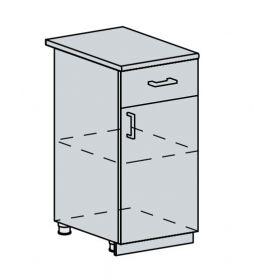 40D1S d. skříňka 1-dveřová se zásuvkou VALERIA bk/white stripe