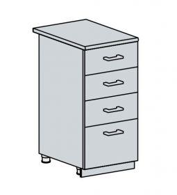 40D4S d. skříňka 4-zásuvková VALERIA bk/white stripe