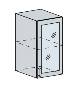 40HS h. vitrína 1-dveřová GREECE bk/bílá metalic