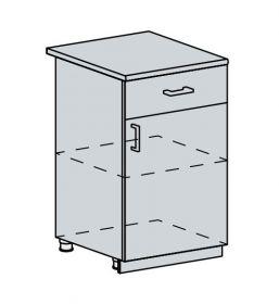 50D1S d. skříňka 1-dveřová se zásuvkou VALERIA bk/black stripe
