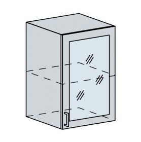 50HS h. vitrína 1-dveřová TECHNO bk/oranžová metalic