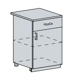 60D1D1S d. skříňka 1-dveřová se zásuvkou GREECE bk/bílá metalic