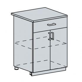 60D1S d. skříňka 2-dveřová se zásuvkou GREECE bk/granát metalic