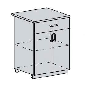 60D1S d. skříňka 2-dveřová se zásuvkou VALERIA bk/red stripe