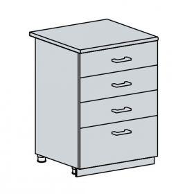 60D4S d. skříňka 4-zásuvková VALERIA bk/white stripe