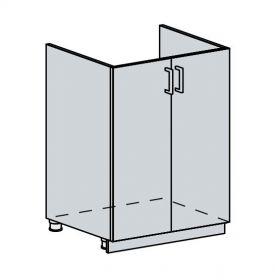 60DZ d. skříňka 2-dveřová pod dřez TECHNO bk/oranžová metalic