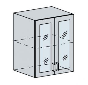 60HS h. vitrína 2-dveřová TECHNO bk/oranžová metalic