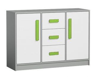Komoda GYT 6 antracit/bílá/zelená