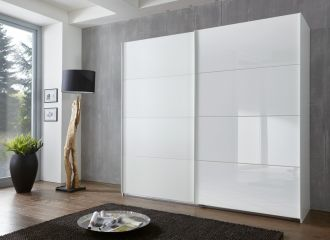 Šatní skříň s posuvnými dveřmi TORNES 791 bílá/bílé sklo