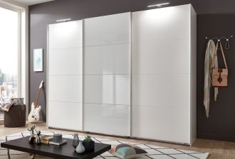 Šatní skříň s posuvnými dveřmi TORNES 796 bílá/bílé sklo