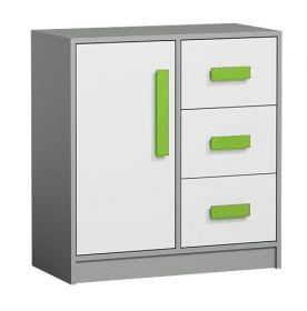 Komoda GYT 7 antracit/bílá/zelená
