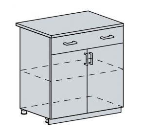 80D1S2 d. skříňka 2-dveřová se zásuvkou GREECE bk/bílá metalic