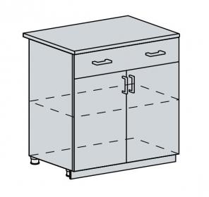 80D1S2 d. skříňka 2-dveřová se zásuvkou GREECE bk/granát metalic