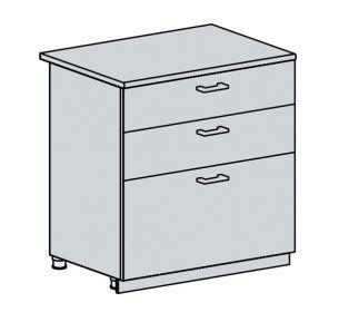 80D3S d. skříňka 3-zásuvková GREECE bk/granát metalic