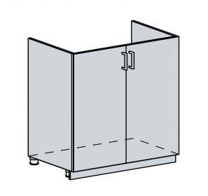 80DZ d. skříňka 2-dveřová pod dřez GREECE bk/bílá metalic