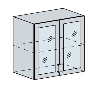 80HS h. vitrína 2-dveřová TECHNO bk/oranžová metalic