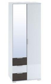 Šatní skříň 2-dveřová TERRA wenge/bílá lesk